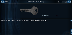 SFTOS Foreman's Key Screen