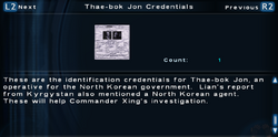 SFTOS Thae-bok Jon Credentials Screen