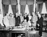 Truman signing North Atlantic Treaty