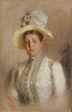 Biasini - Doprsni portret dame z rumenim pokrivalom
