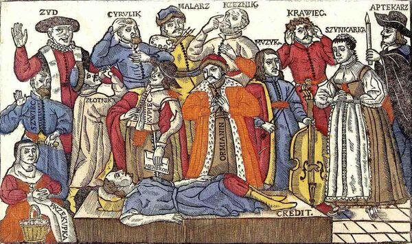 Zeitgenössisches-Bild-des-Jammerns-aller-Gewerke-des-dritten-Standes-und-Juden-über-den-toten-Kredit