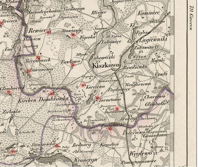 Dwór rycerski Gniewkowo-Rittergut Eichenheim, Kartenausschnitt, gestochen von Reyher, Berlin, Blatt Rogassen, Nr. 78