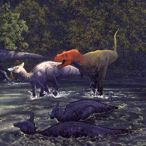 Tyrannosaurus vs. Saurolophus