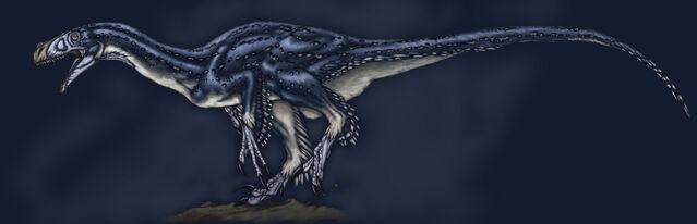 File:Feathered Ornitholestes.jpg