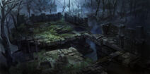 Dark fantasy environment ruins 01 by onestepart-d6l7zm5