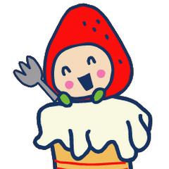 Ichigotchi sitting on top of a cake