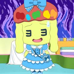 Kuyokuyotchi wearing a blue lolita dress designed by Miraitchi and Kururutchi