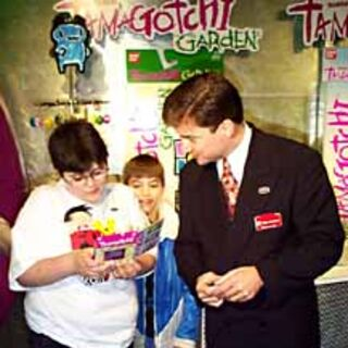 A display for the Tamagotchi Garden at the 1998 Toy Fair.