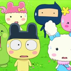 Mametchi shocked along with the other Tamagotchis