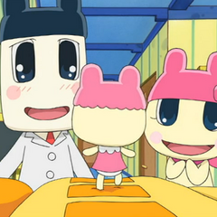 Mamametchi with a recently evolved Chamametchi