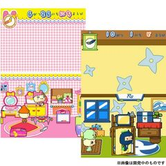 Tamagotchis interacting with items in their houses