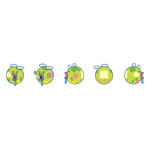 The Tamagotchi Planet at five different angles.