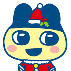 Mametchi in a Santa Claus outfit