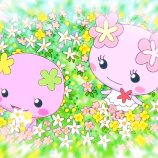 Mamavioletchi and Violetchi picking flowers, from Tamagotchi: Happiest Story in the Universe!