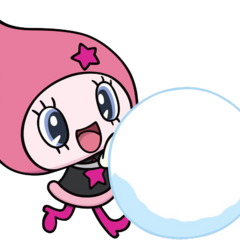 Himespetchi rolling a snowball.