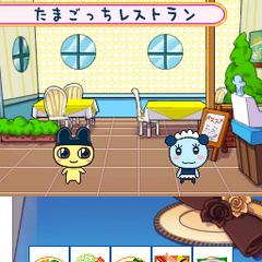 The inside of the Tamagotchi Restaurant in <i>Tamagotchi no Narikiri Channel</i>