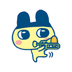 Mametchi playing a trombone