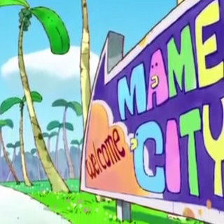 A sign for Mame City