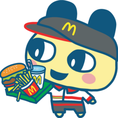 Mametchi as a McDonalds employee