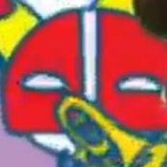 Masktchi playing a trumpet