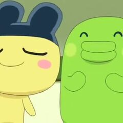 Mametchi puffing his chest while standing with Kuchipatchi
