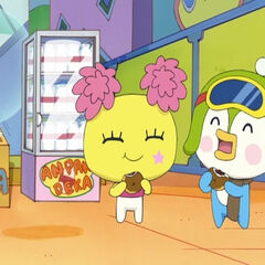 Pompomtchi and Sunopotchi eating together on an episode of Anpan Detective