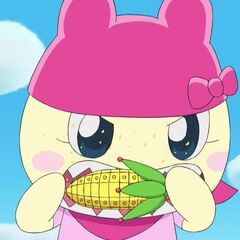 Mamametchi eating cornshaped UFO