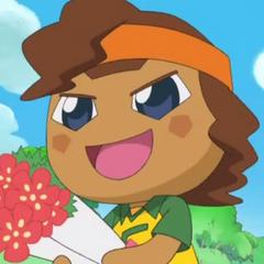 Forwardtchi holding a bouquet