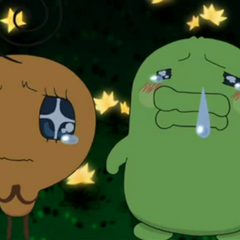 Kuchipatchi and Memetchi tearing up, from <i>Tamagotchi: The Movie</i>