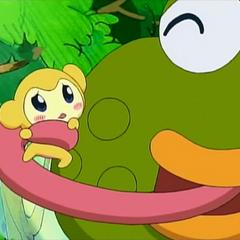 Gamanosuke holding Kikitchi with his tongue