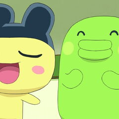 Mametchi talking proudly while standing with Kuchipatchi