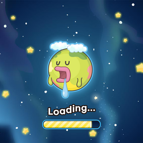 The Tamagotchi Planet on the Dream Town game loading screen