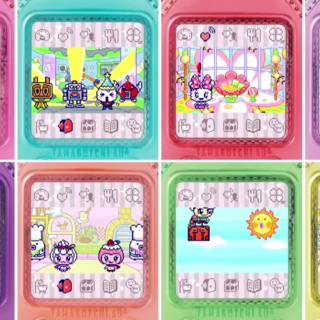 Several images of adult Tamagotchi characters on the 4U+