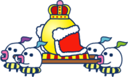 Servants carrying king