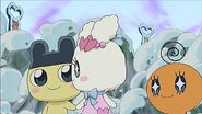 Mametchi and Lovelitchi holding hands