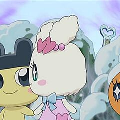 Lovelitchi and Mametchi holding hands