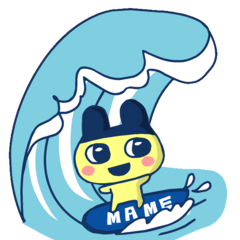 Mametchi surfing