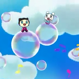 Anime scene of Lovelin and Melodytchi floating on bubbles while playing Happy Happy Harmony