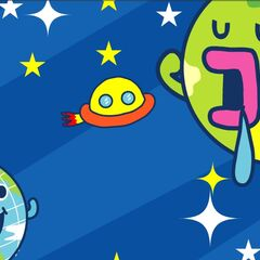 A UFO going to Tamagotchi Planet, from Tamatown V4