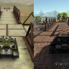 A comparison between how tanks and maps look in the old and new versions of Tanki
