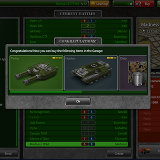 A popup after leaving a battle at which the player has ranked up, showing the new items available to the player's rank in the garage