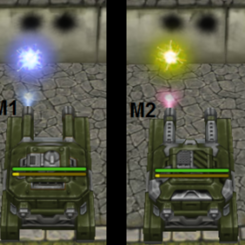 A comparison between the projectile colors of the different upgrades