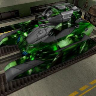 A tank in a garage