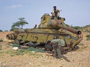 Ruined tank in Hargeisa, Somaliland