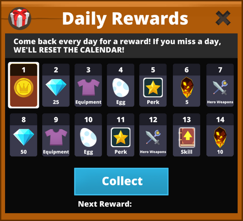 Daily week rewards