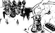 Davros faces off with Golden Emperor