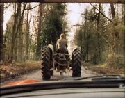 A tractor appears