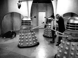 The Daleks boom mic overhead