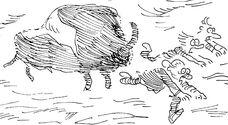 Wooly rhinoceros chasing Doc