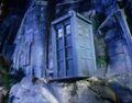 TARDIS on edge of cliff Peladon.jpg